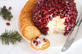Pomegranate Jeweled Cheese Ball with White Cheddar and Sage