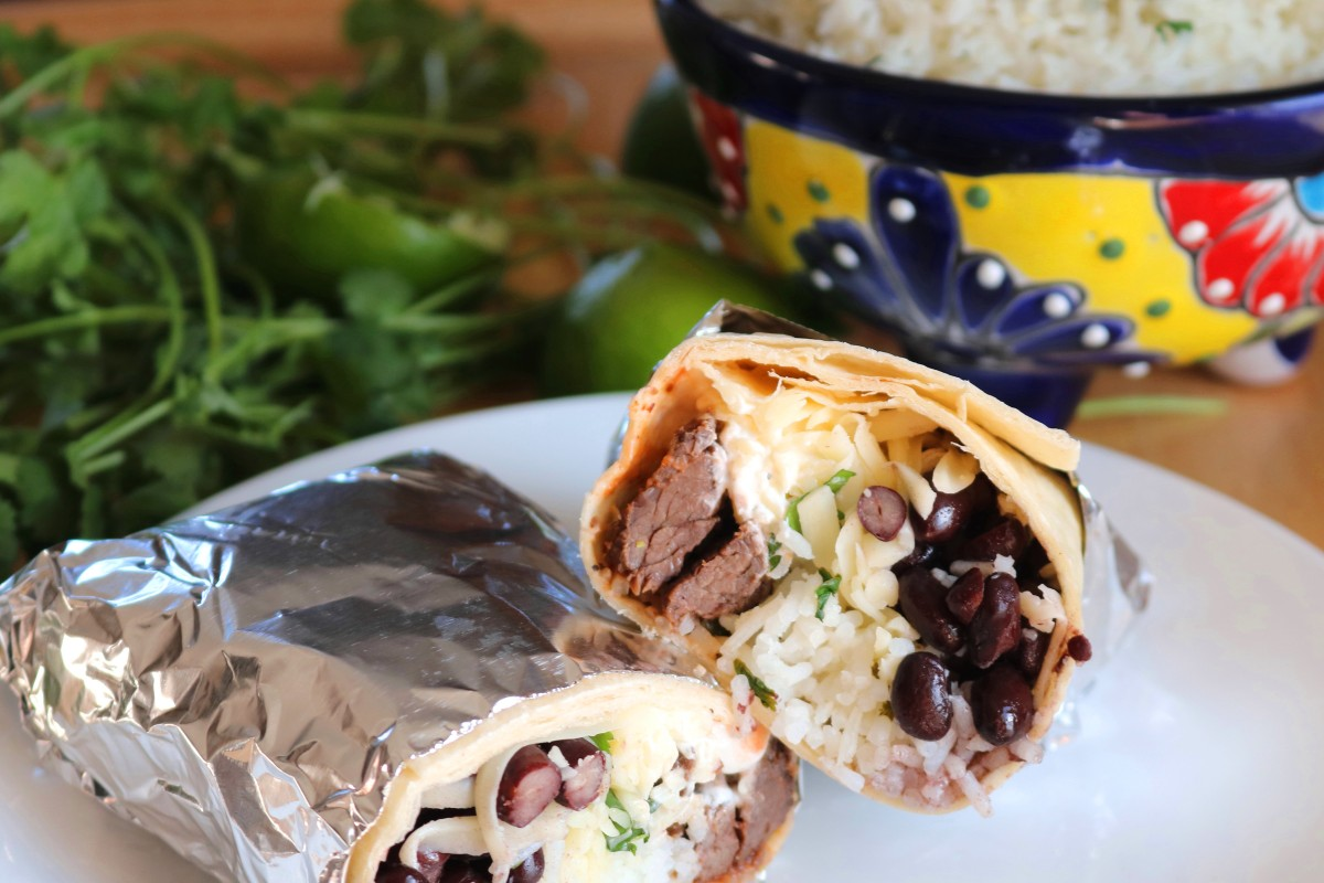 Elk Steak Burritos with Cilantro Lime Rice