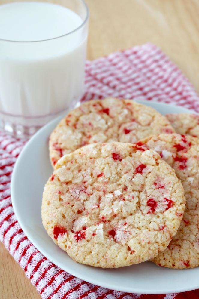 Red Hots Crinkle Cookies