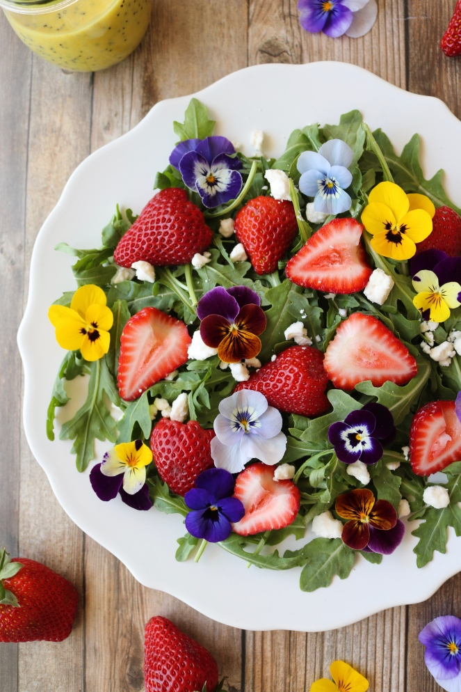 Viola and Strawberry Arugula Salad with Feta | A Palate For Pie